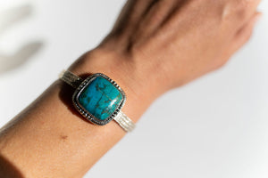 Limited Edition Sterling Silver Slide Charm with Cushion Chrysocolla