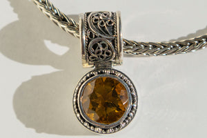 "Casbah Whiskey Citrine pendant on 16-18"" handwoven foxtail chain"