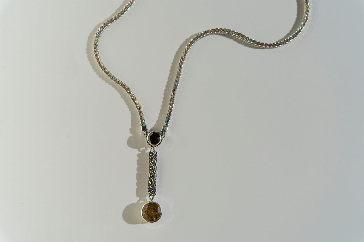 Casbah Garnet & Whiskey Citrine foxtail chain Y necklace extends 16-18""