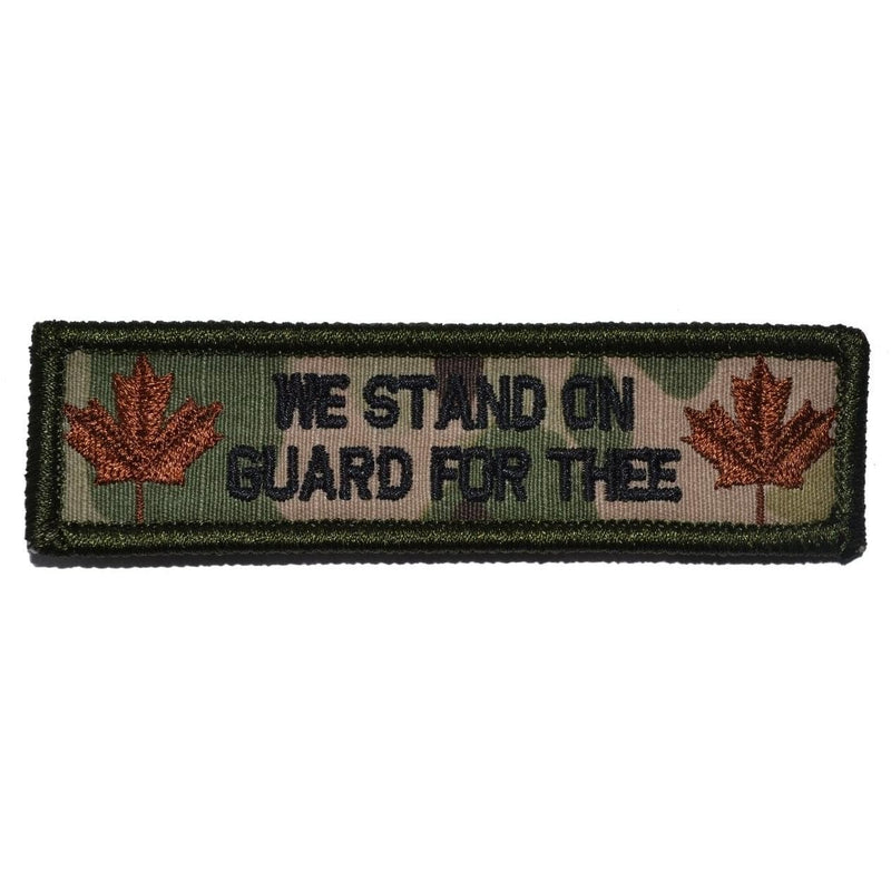 "Tactical Gear Junkie Patches MultiCam Canada ""Stand on Guard For Thee"" Motto - 1x3.75 Patch"