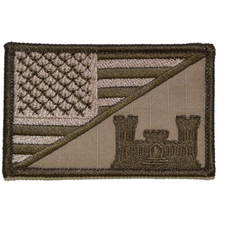 Tactical Gear Junkie Patches Coyote Brown Army Engineer Castle USA Flag - 2.25x3.5 Patch