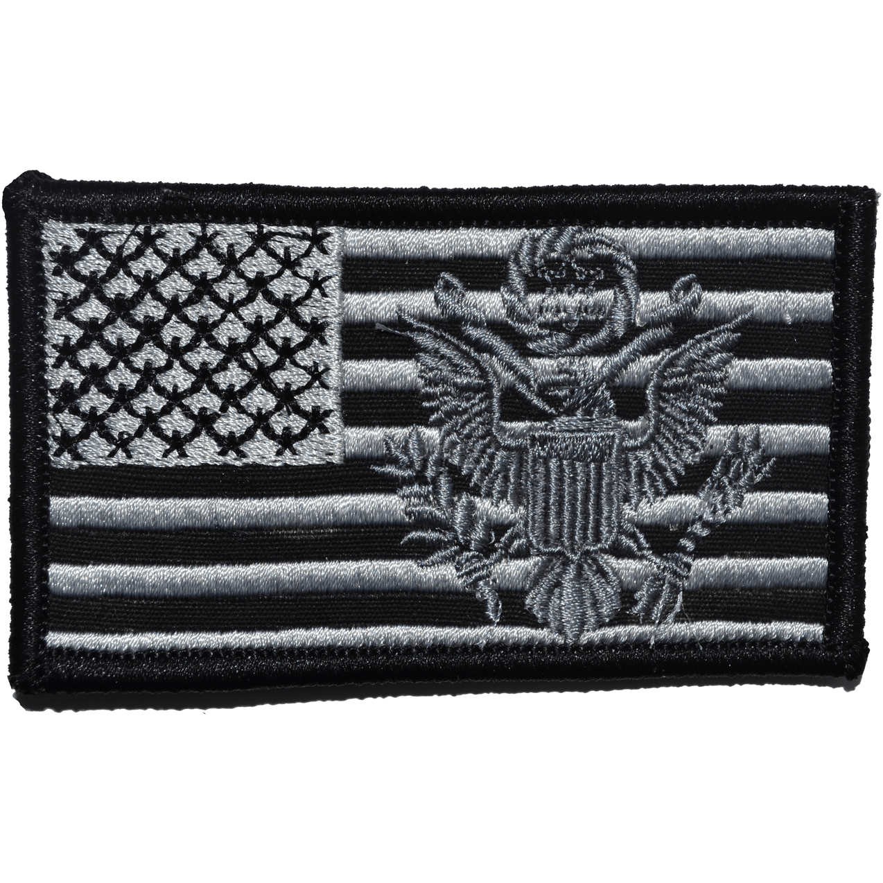 Tactical Gear Junkie Patches Black USA Flag with Superimposed U.S. Army Crest - 2x3.5 Patch