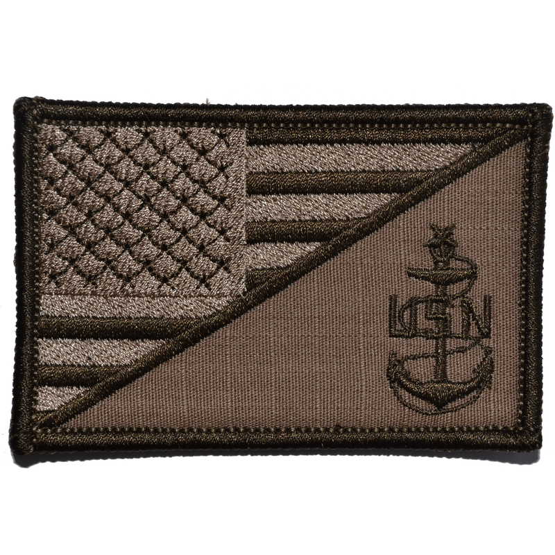 Tactical Gear Junkie Patches Coyote Brown Navy SCPO Senior Chief Petty Officer USA Flag - 2.25x3.5 Patch