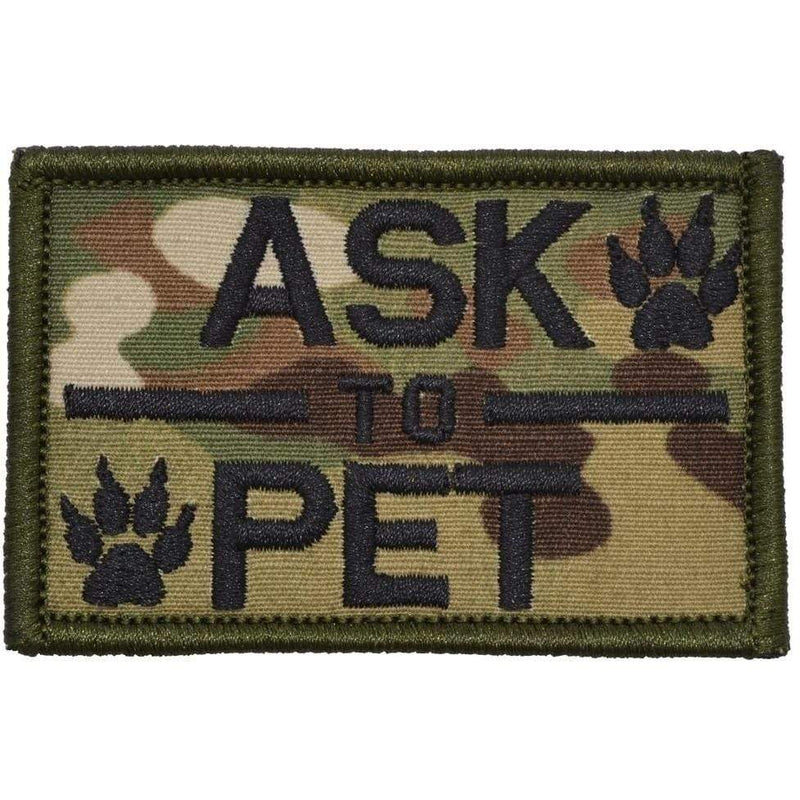 Tactical Gear Junkie Patches MultiCam Ask to Pet, K9 Service Dog - 2x3 Patch