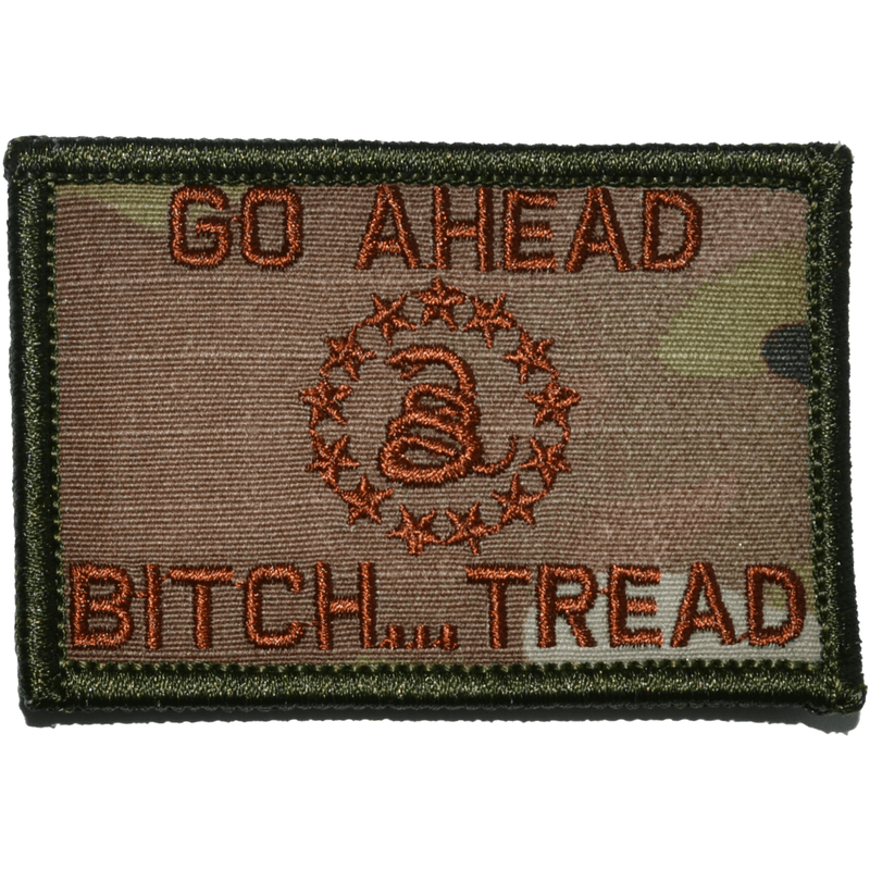 Tactical Gear Junkie Patches MultiCam w/ Spice Go Ahead Bitch... Tread Gadsden Snake - 2x3 Patch
