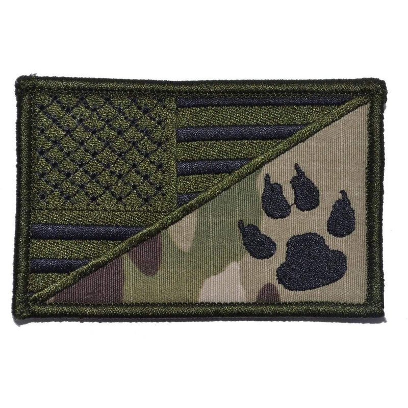 Tactical Gear Junkie Patches MultiCam K9 Tracker Paw USA Flag - 2.25x3.5 Patch