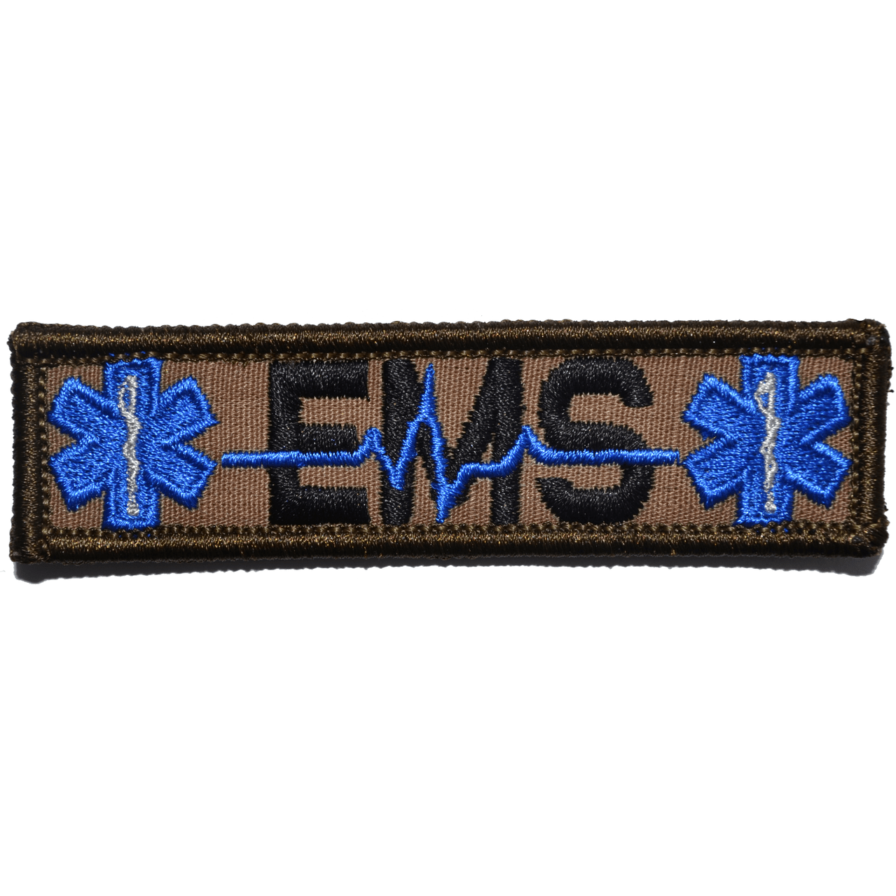 Tactical Gear Junkie Patches Coyote Brown w/ Black EMS Heartbeat and Stars of Life - 1x3.75 Patch