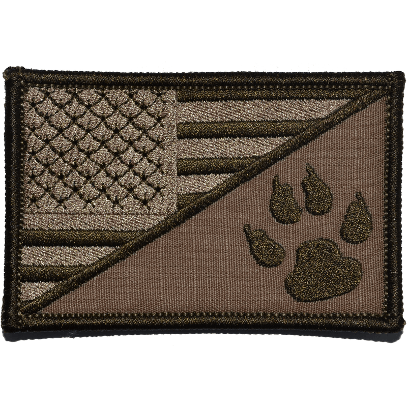 Tactical Gear Junkie Patches Coyote Brown K9 Tracker Paw USA Flag - 2.25x3.5 Patch