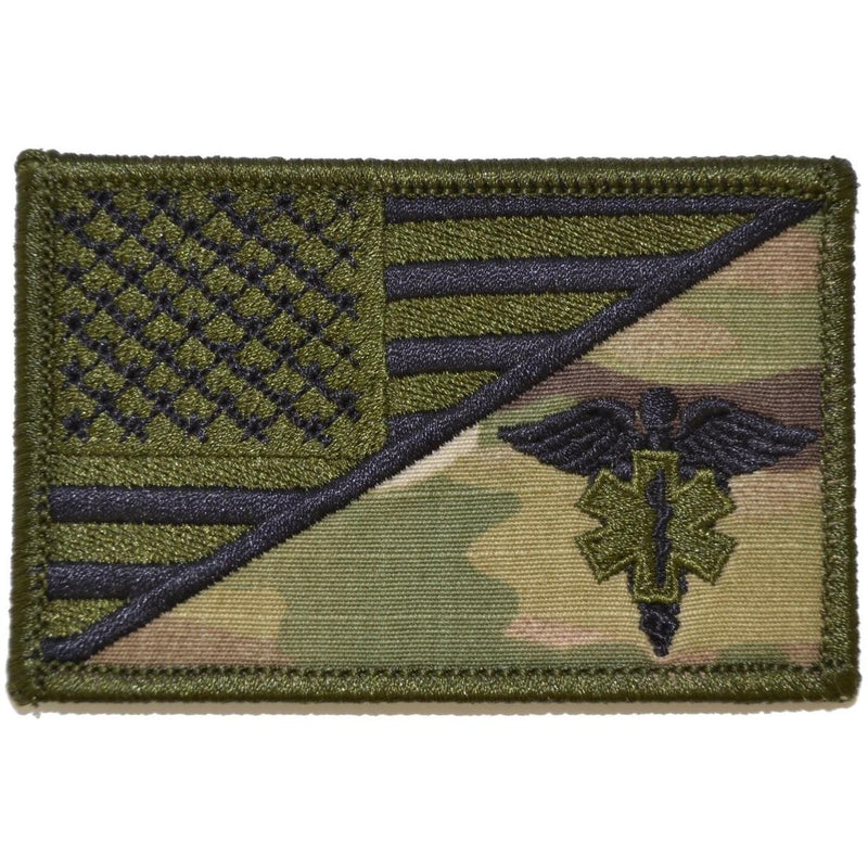 Tactical Gear Junkie Patches MultiCam EMT Caduceus Star of Life USA Flag - 2.25x3.5 Patch