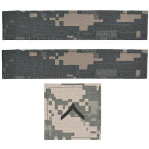 3 Piece Custom Name Tape & Rank Set w/ Hook Fastener Backing - ACU