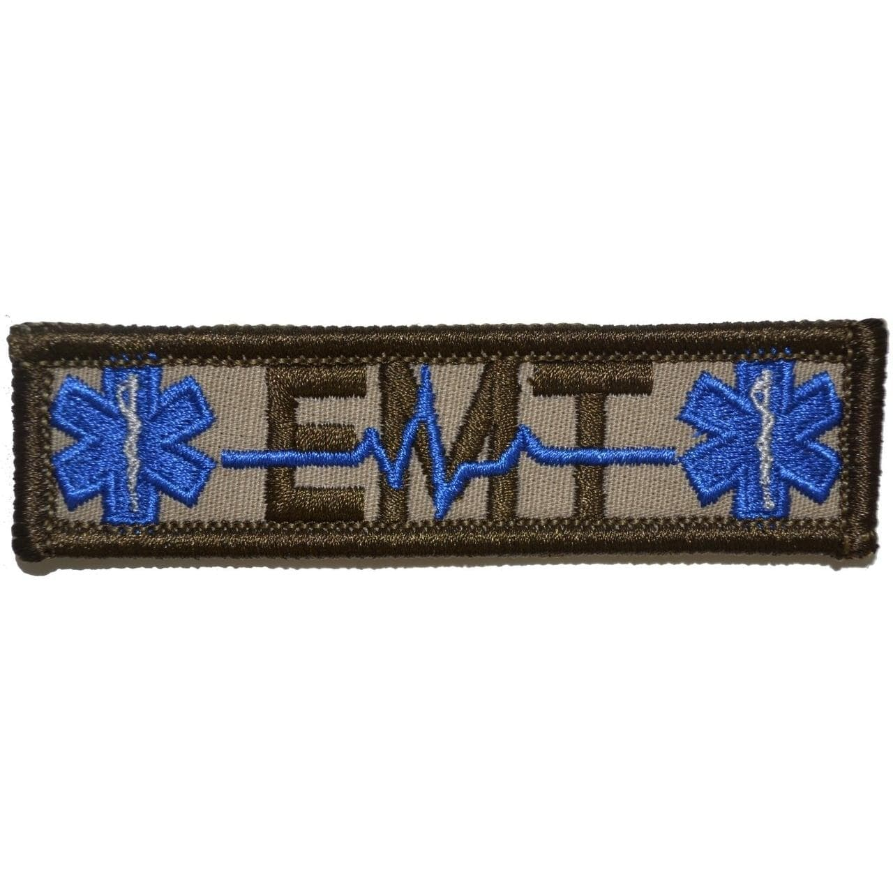 Tactical Gear Junkie Patches Desert Sand EMT Heartbeat and Stars of Life - 1x3.75 Patch