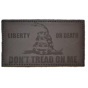 4.5x2.5 Leather Patch w/Hook Fastener - Liberty or Death Gadsden Snake