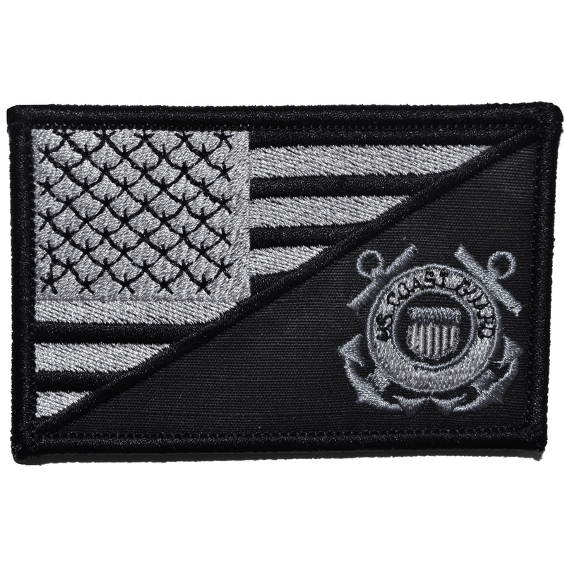 Tactical Gear Junkie Patches Black Coast Guard USA Flag - 2.25x3.5 Patch