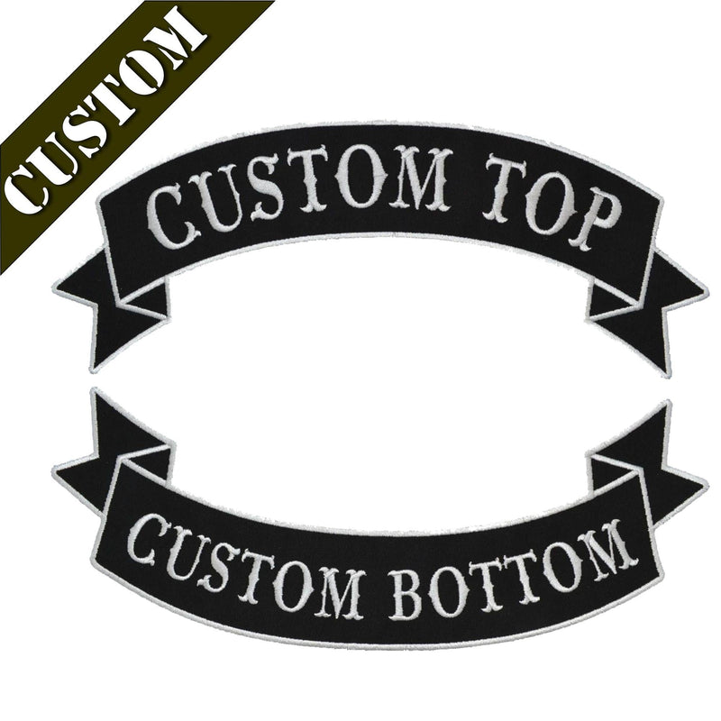 Tactical Gear Junkie Patches Custom Biker Vest Patch - Top and Bottom Banner Style Tab and Rocker - Sew On