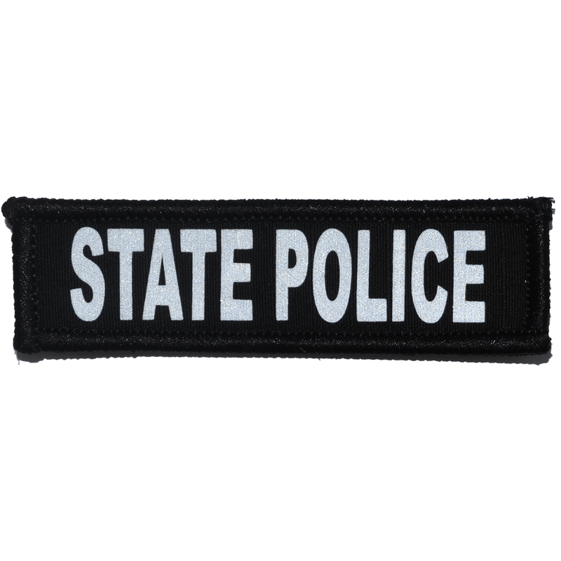 Tactical Gear Junkie Patches Black State Police Reflective - 1x3.75 Patch