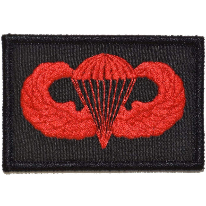 Tactical Gear Junkie Patches Black w/ Red Parachute Jump Wings - 2x3 Patch