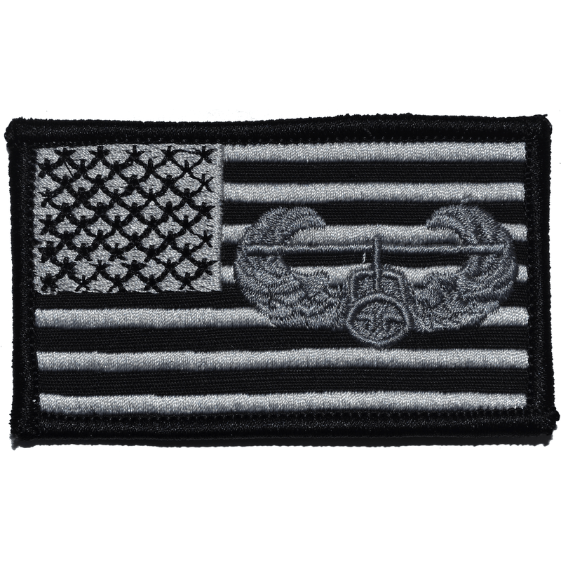 Tactical Gear Junkie Patches Black USA Flag with Superimposed Air Assault Badge - 2x3.5 Patch
