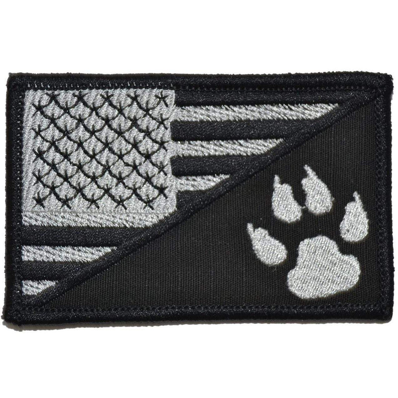 Tactical Gear Junkie Patches Black K9 Tracker Paw USA Flag - 2.25x3.5 Patch