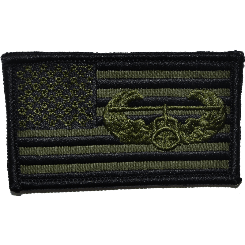 Tactical Gear Junkie Patches Olive Drab USA Flag with Superimposed Air Assault Badge - 2x3.5 Patch
