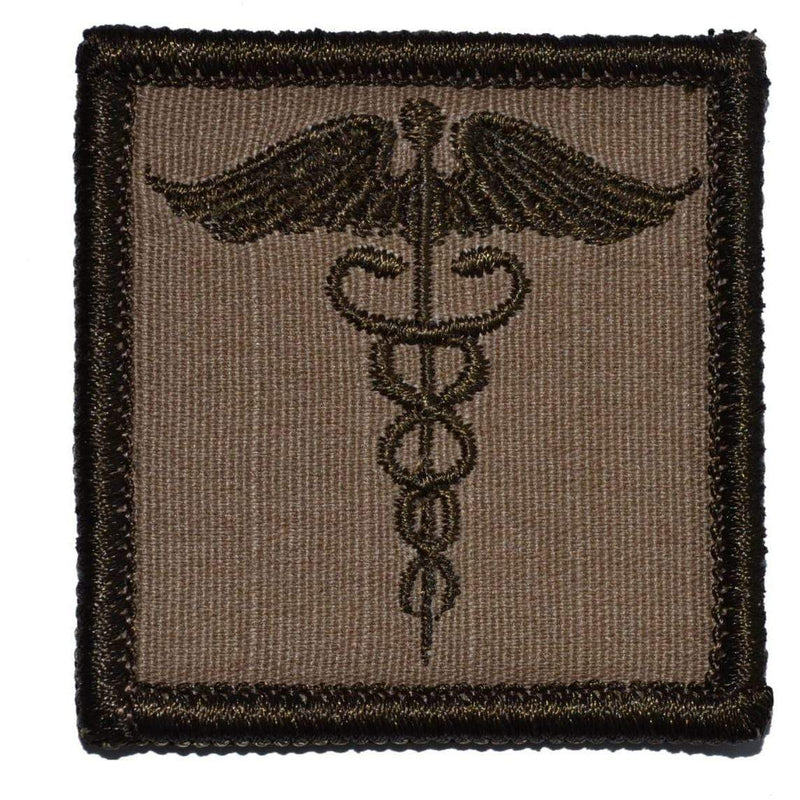 Tactical Gear Junkie Patches Coyote Brown Caduceus Staff of Life - 2x2 Patch