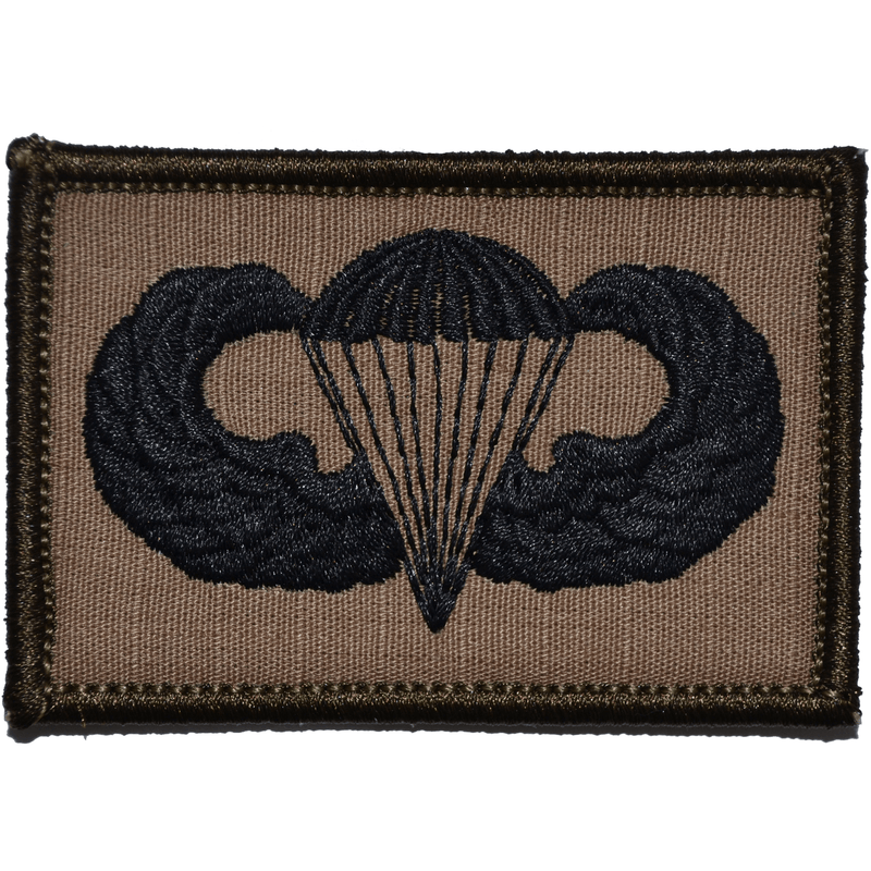 Tactical Gear Junkie Patches Coyote Brown w/ Black Parachute Jump Wings - 2x3 Patch