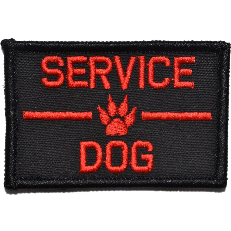 Tactical Gear Junkie Patches Black w/ Red Service Dog, K9 Dog Patch - 2x3 Patch
