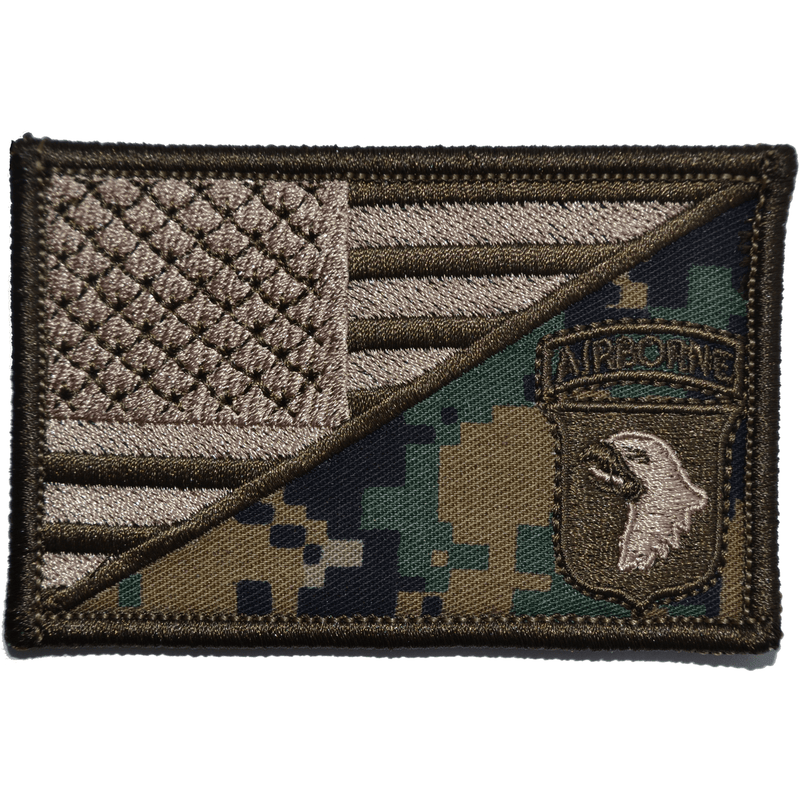 Tactical Gear Junkie Patches MARPAT Woodland 101st Airborne Division USA Flag - 2.25x3.5 Patch