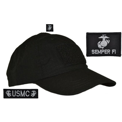 Hat with Patch Set: USMC EGA w/ Semper Fi, USMC 1x3.75, EGA 1x1