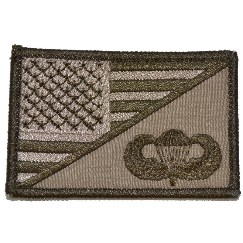 Tactical Gear Junkie Patches Coyote Brown Parachute Jump Wings USA Flag - 2.25x3.5 Patch