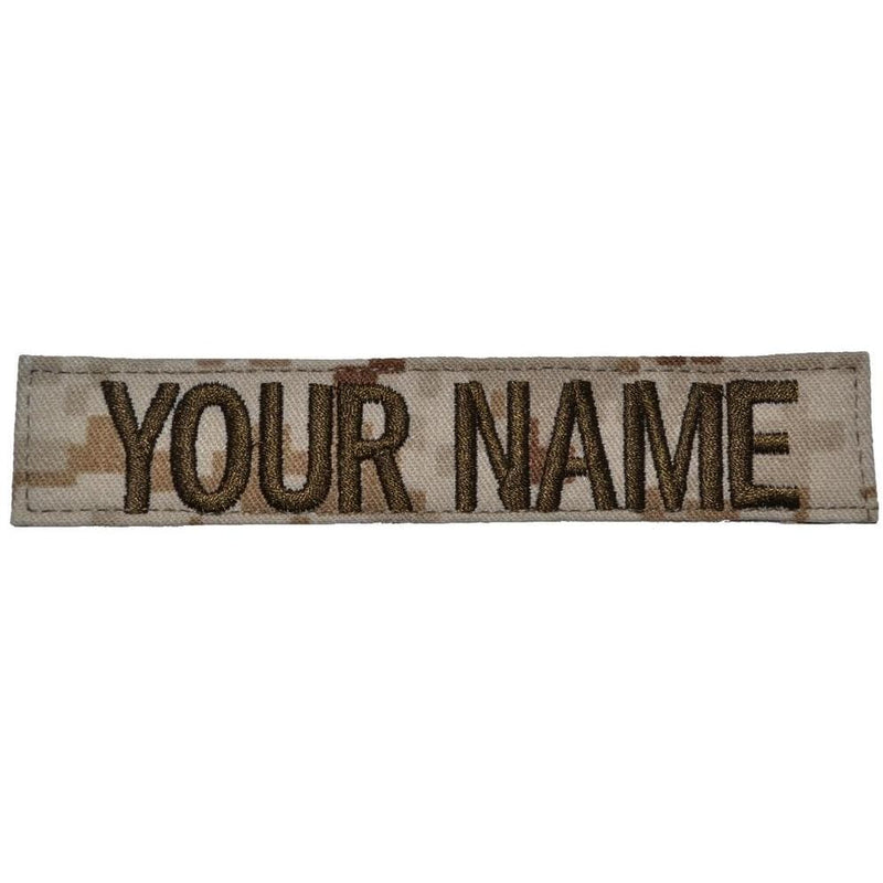 Tactical Gear Junkie Name Tapes Single Custom Name Tape w/ Hook Fastener Backing - Desert Marpat