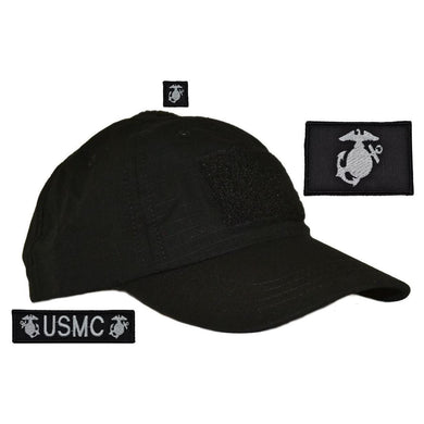 Hat with Patch Set: USMC Eagle Globe and Anchor, USMC 1x3.75, EGA 1x1