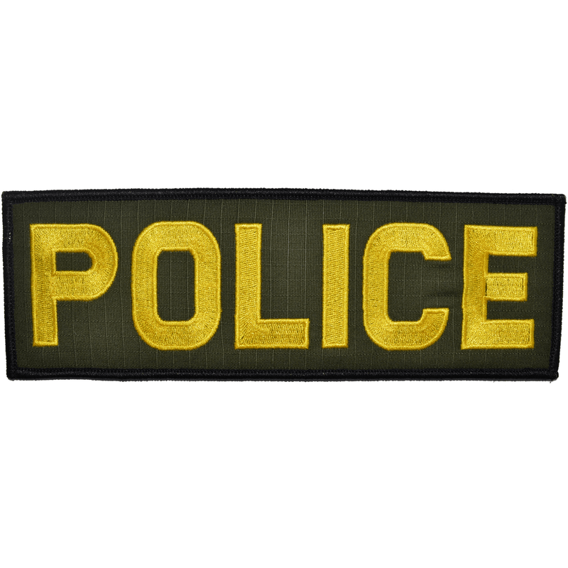 Tactical Gear Junkie Patches Olive Drab w/ Yellow POLICE - 3x9 Patch