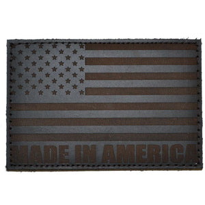 3x2 Leather Patch w/Hook Fastener - American Flag Made in America