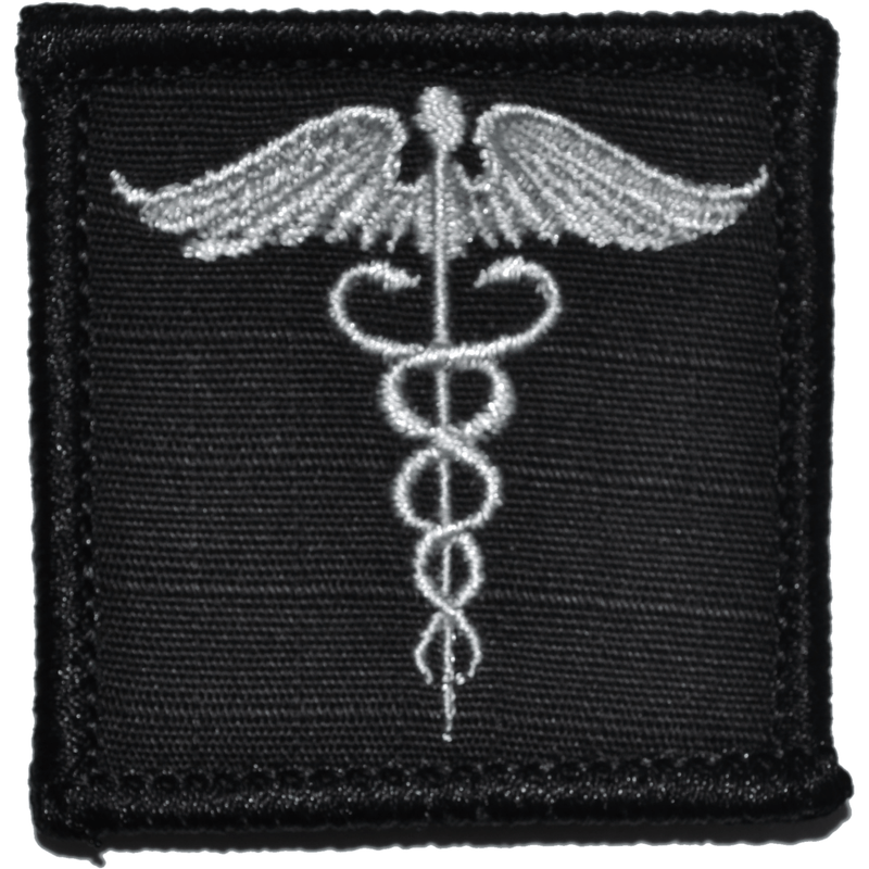 Tactical Gear Junkie Patches Black Caduceus Staff of Life - 2x2 Patch