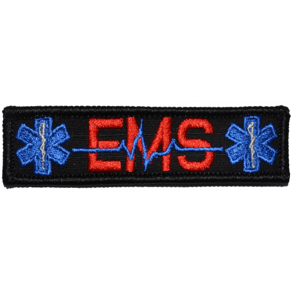 Tactical Gear Junkie Patches Black w/ Red EMS Heartbeat and Stars of Life - 1x3.75 Patch