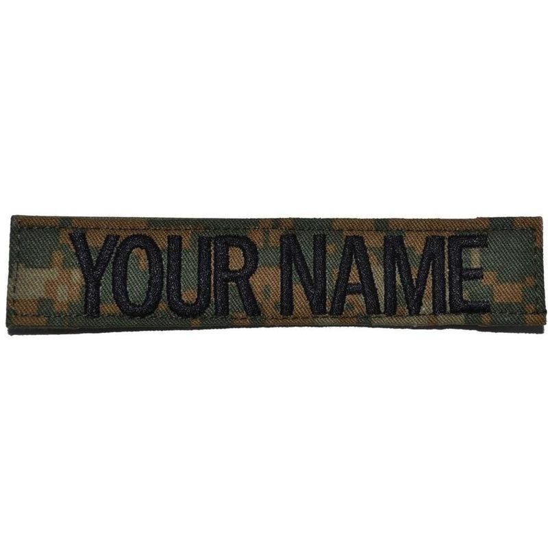 Tactical Gear Junkie Name Tapes Single Custom Name Tape w/ Hook Fastener Backing - Woodland Marpat