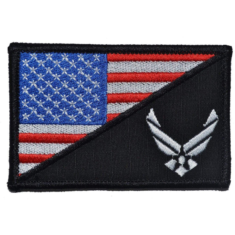 Tactical Gear Junkie Patches Full Color w/ Black U.S. Air Force Emblem USA Flag - 2.25x3.5 Patch