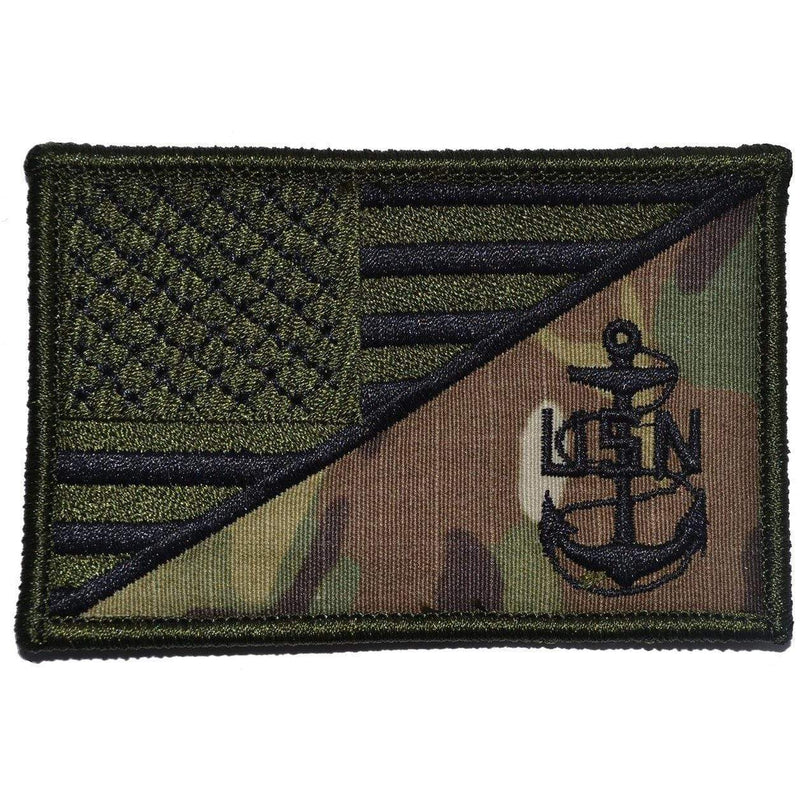Tactical Gear Junkie Patches MultiCam Navy Chief Petty Officer Anchor USA Flag - 2.25x3.5 Patch