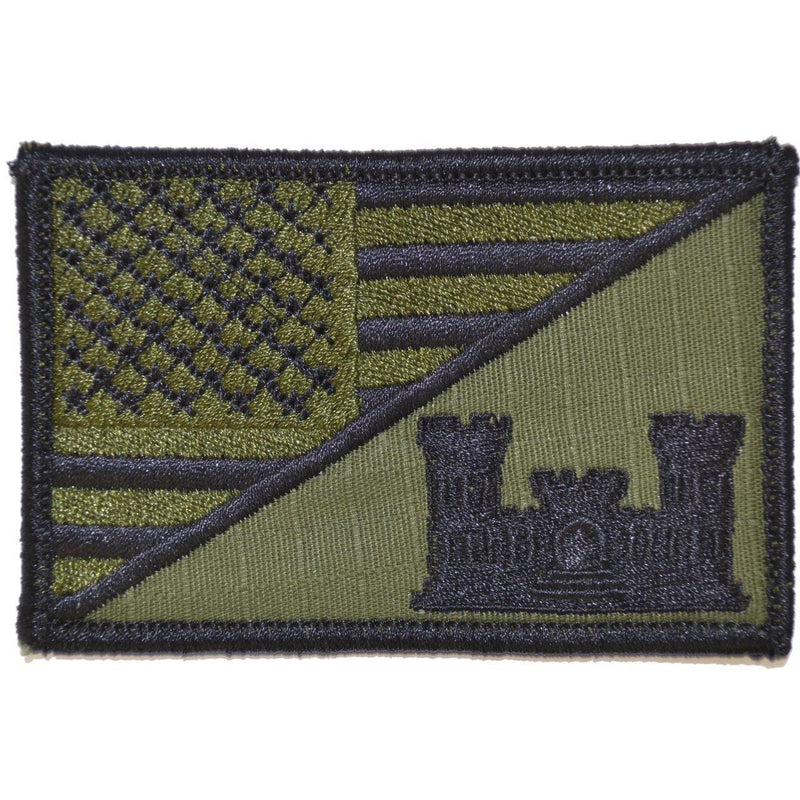 Tactical Gear Junkie Patches Olive Drab Army Engineer Castle USA Flag - 2.25x3.5 Patch