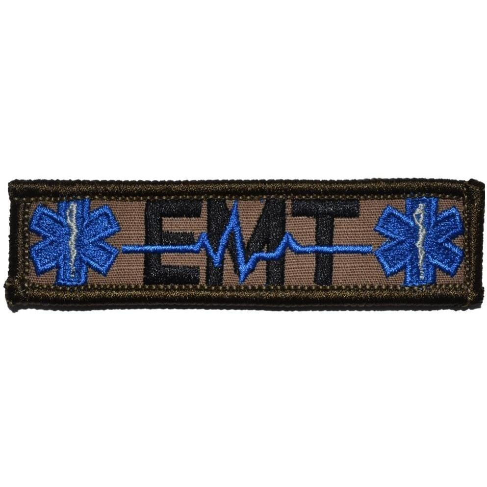 Tactical Gear Junkie Patches Coyote Brown w/ Black EMT Heartbeat and Stars of Life - 1x3.75 Patch