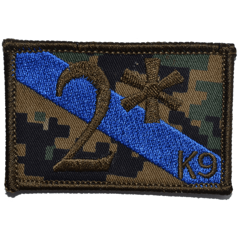 Tactical Gear Junkie Patches MARPAT Woodland 2* Two Ass to Risk Thin Blue Line K9 Police Unit - 2x3 Patch