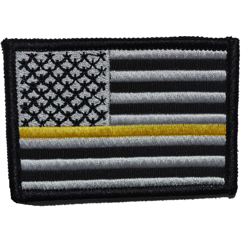 Tactical Gear Junkie Patches Black US Flag Thin Gold Line Public Safety Dispatchers - 2x3 Patch