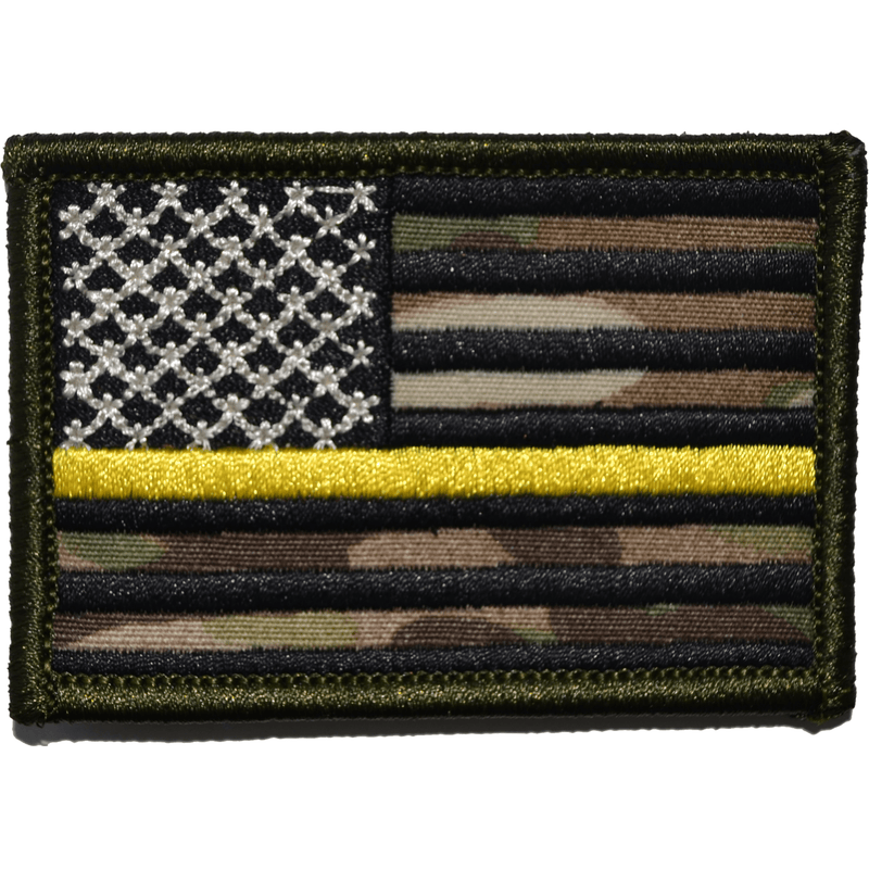 Tactical Gear Junkie Patches MultiCam US Flag Thin Gold Line Public Safety Dispatchers - 2x3 Patch