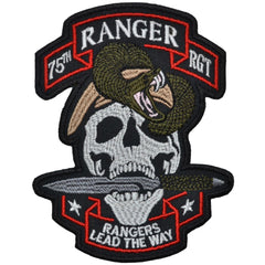 75th Ranger RGT Skull Snake and Dagger - 4.5x3.25 inch Patch