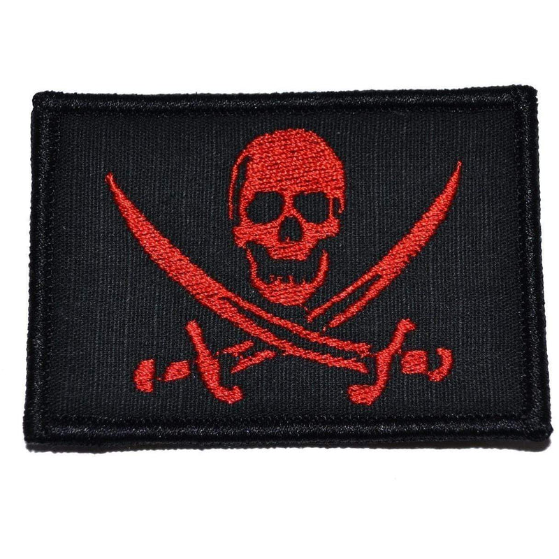 Tactical Gear Junkie Patches Black w/ Red Pirate Jolly Roger - 2x3 Patch