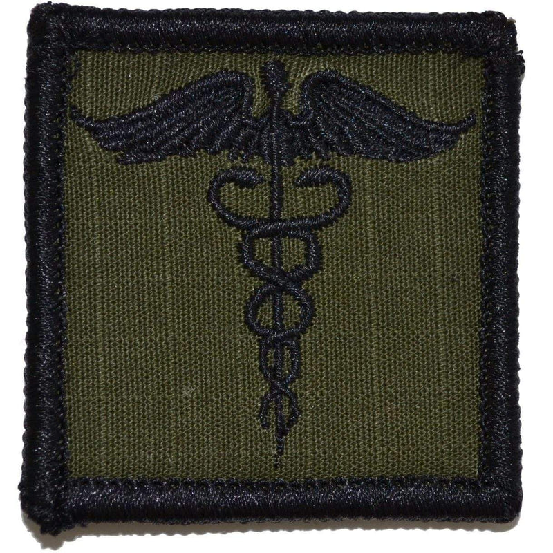 Tactical Gear Junkie Patches Olive Drab Caduceus Staff of Life - 2x2 Patch