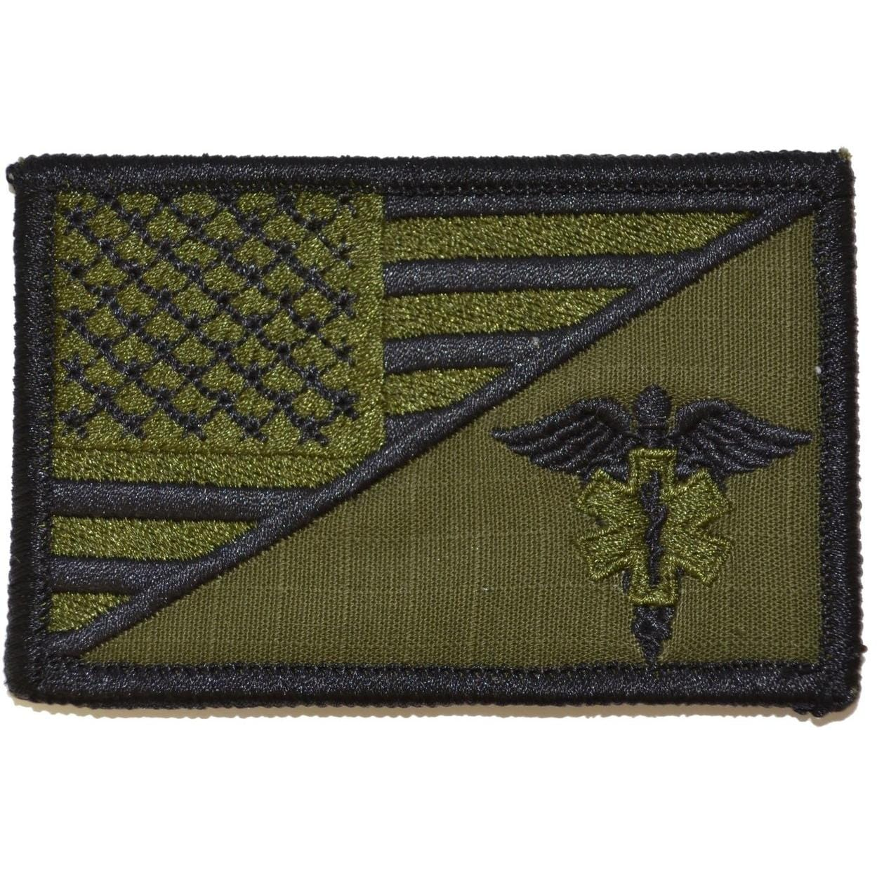 Tactical Gear Junkie Patches Olive Drab EMT Caduceus Star of Life USA Flag - 2.25x3.5 Patch