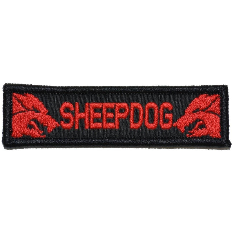 Tactical Gear Junkie Patches Black w/ Red Sheepdog - 1x3.75 Patch