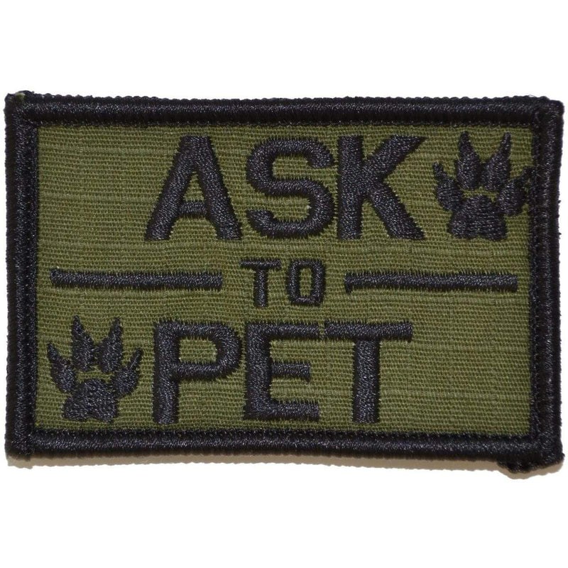 Tactical Gear Junkie Patches Olive Drab Ask to Pet, K9 Service Dog - 2x3 Patch