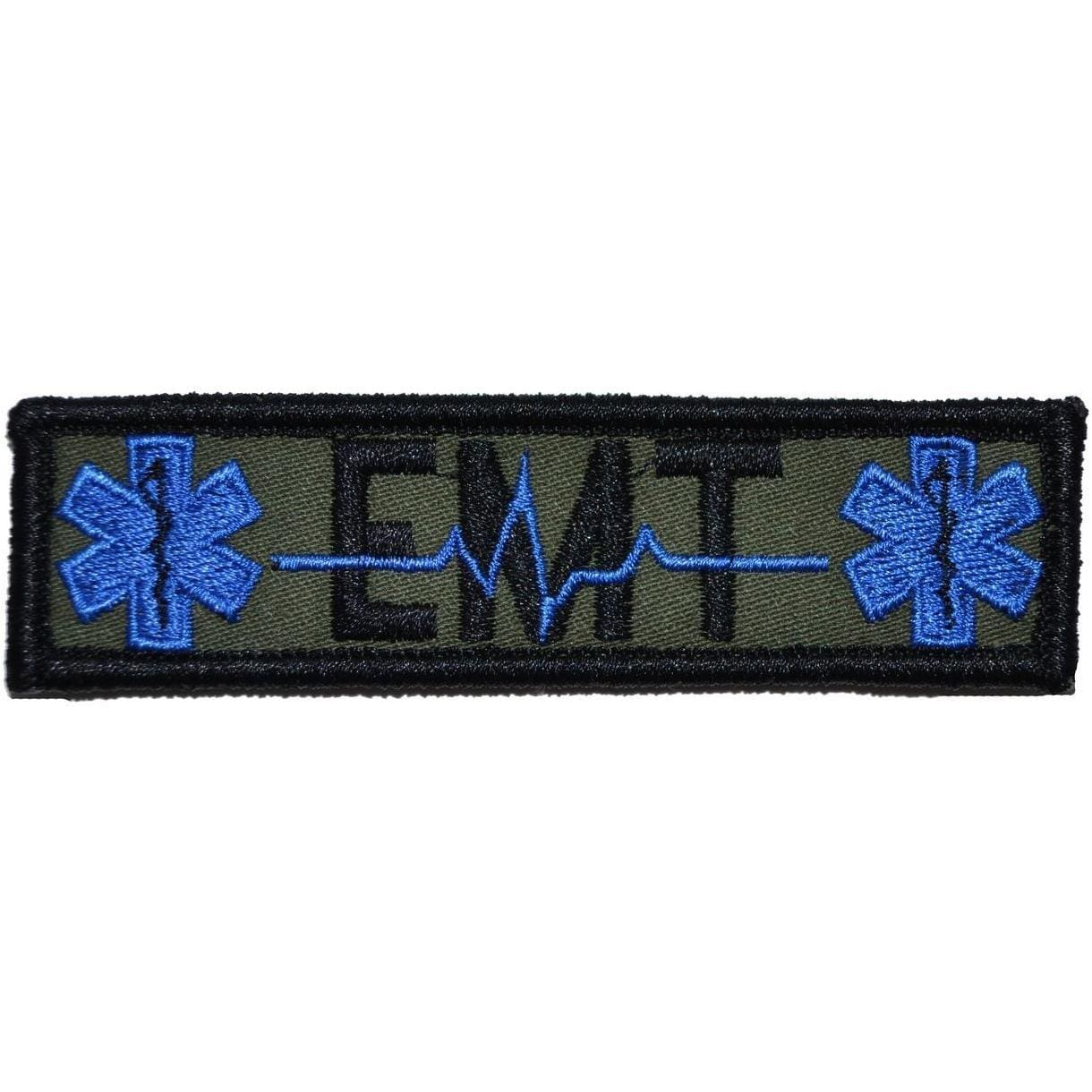Tactical Gear Junkie Patches Olive Drab EMT Heartbeat and Stars of Life - 1x3.75 Patch